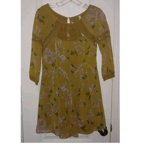 2 Free People Green Floral Flare Mini Lace Dress